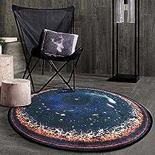 Longshien Alfombra Europa y los Estados Unidos de la moda creativa ronda planeta Alfombra Dormitorio sala de estar habitación cesta silla de ordenador alfombra (Color, tamaño opcional) Alfombrillas de puerta ( Color : #4 , Tamaño : 60cm )