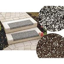 Floordirekt Stufenmatten - Sicherheitsstufenmatten für Außentreppen - schwarz-braun, 25x73cm, mit Winkel