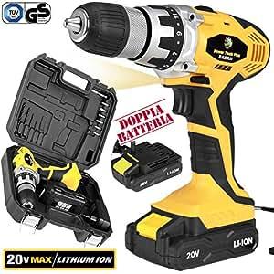 Bakaji power tools trapano avvitatore a doppia batteria al for Trapano avvitatore parkside 20v recensioni
