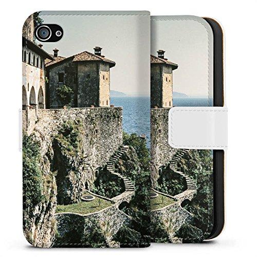 Apple iPhone X Silikon Hülle Case Schutzhülle Küstenlandschaft Festung Meer Sideflip Tasche weiß