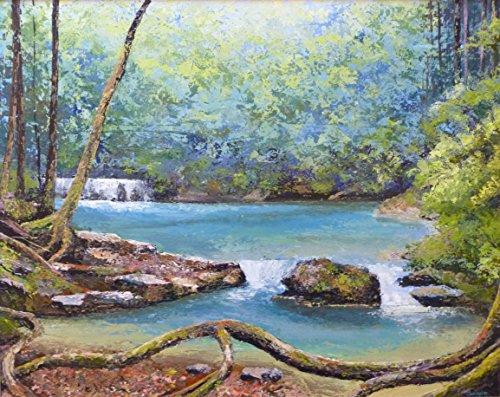 wald-eroffnung-50cmx40cm-wasserfalle-malerei-turkisblaue-lagune-idylle-woodland-einstellen