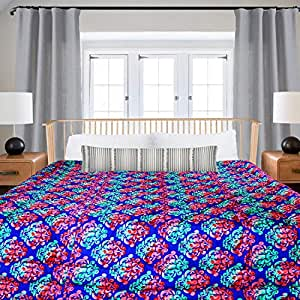 SPREADING SMILES Microfibre Reversible Comforter, Double SkyBlue-RED, 200 GSM