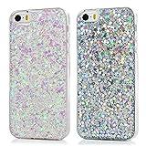 [2 Pack] iPhone SE Case Glitter, iPhone 5S 5 Case TPU