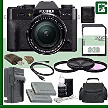 Fujifilm X-T10 Mirrorless Digital Camera With 18-55mm Lens (Black) + 8GB Green's Camera Bundle 1