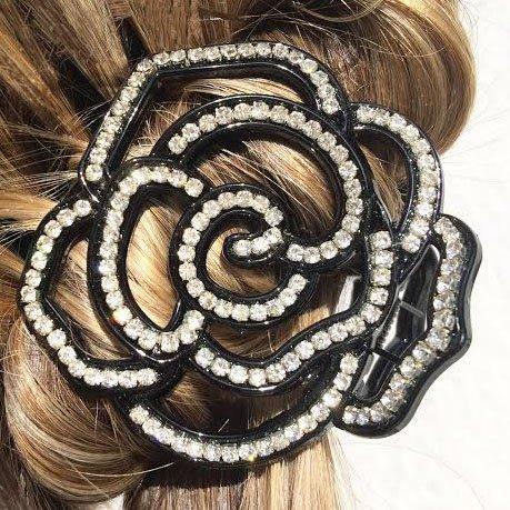 Pince Cheveux Fleur Cheveux Bijoux Cheveux Pince Crabe Cheveux Accessoire Cheveux Mariage Noire Cristal Diamante Strass Fleur Pour Cheveux