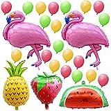 AerWo 2er Flamingo Ballons und 1pcs Ananas Ballon Hawaiian Party Dekorationen mit Erdbeere, Wassermelone Ballon und 20pcs Mini Latex Ballons für Geburtstagsfeier und Baby-Dusche-Dekorationen