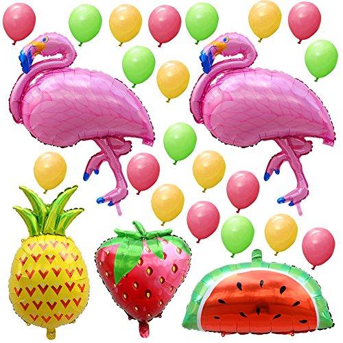 AerWo 2pcs Globos de Flamenco y 1pcs Globo de Piña Decoraciones de Fiesta Hawaiana con Fresa, Globo de Sandía y 20pcs Globos de Látex Mini para Decoraciones de Fiesta de Cumpleaños y Baby Shower