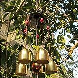 Lucky Windspiel, traditionelle chinesische Buddha Medaille, MEANING OF GOOD LUCK Bless, Outdoor Garten Dekoration zum Aufhängen Bronze Glocken Windspiel 65cm