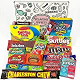 American Candy Box Hamper | American Sweets and Chocolate Bar Gift Box Selection | Assortment includes Reeses, Skittles, Nerds, Jolly Rancher | Value Pack 18 items in Retro Sweets Box