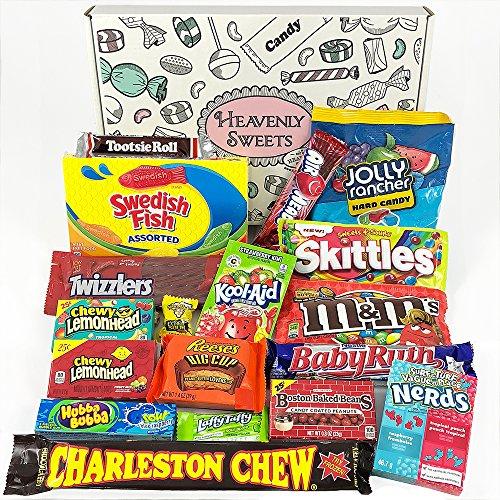 enkkorb | Retro Süßigkeiten und Schokolade Geschenkkorb | Auswahl beinhaltet Reeses, Skittles, Nerds, Hersheys, M&M's | 19 Produkte in einer tollen retro Geschenkebox (Taffy Candy)
