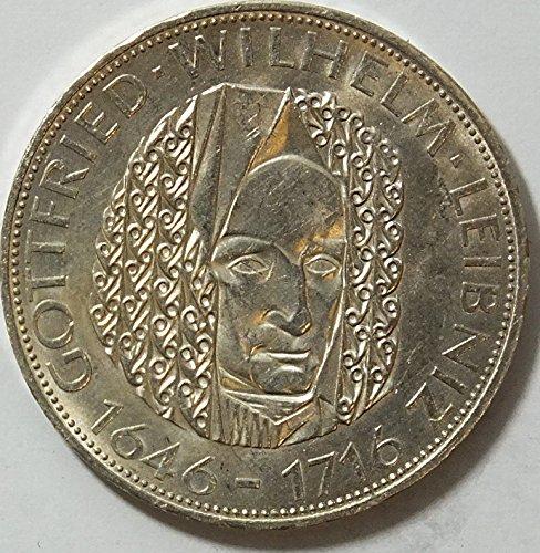 Münzen für Sammler: BRD Schönnr: 117(6) Gottfried Wilhelm Leibniz, Stempelglanz 1966 5 DM Silbergede