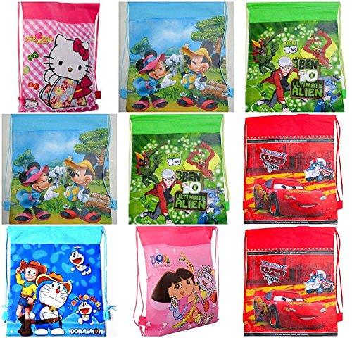 Gifts Online Cartoon Printed Kids Haversack - Kids Birthday Party Return Gift (Pack Of 12)