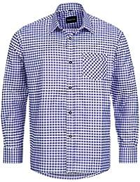 Trachtenhemd für Trachten Lederhosen Freizeit Hemd violett-kariert Gr. S-XXXL