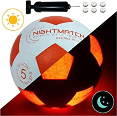 NIGHTMATCH LEUCHTFUSSBALL MIT BALLPUMPE & ERSATZBATTERIEN - White Edition - toller Kinder-Fussball Ball - helle, Sensor-aktivierte LED-Beleuchtung - Größe 5 - Offizielle Größe & Gewicht