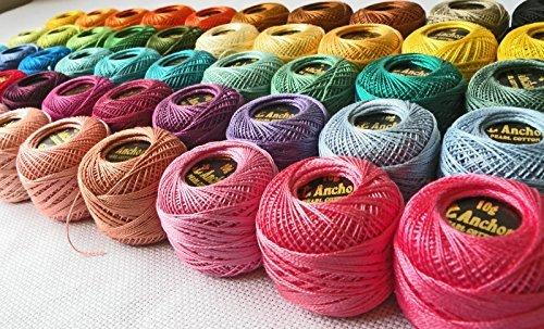 Ovillos para croché de algodón perlado de J & P COATS, comercializa ANCHOR tamaño 8 (85 metros cada una), 40 unidades
