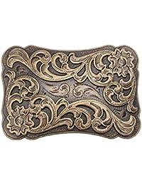 P Prettyia Western Ceinture Boucle Arabesque Motif Cow-Boy Cowgirl  Classique Homme Bronze 2161b92e468