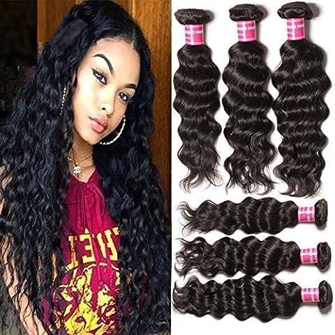 Extensions Longqibeauty® cheveux brésilien naturels tissage de cheveux Extensions 100% cheveux humains naturels non traités Couleur naturelle 95–100