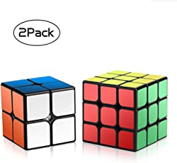 Roxenda 1 Zauberwürfel Set, Serie von 2x2x2 3x3x3 Cube Würfel Smooth Zauberwürfeln (2x2&3x3)