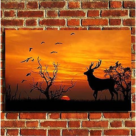 Tramonto scena animali selvatici stampa su tela da parete con cornice portafoto poster S, M, L, 20