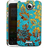 HTC One X Hülle Premium Case Cover Blumen Muster Gold