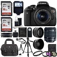 Canon EOS Rebel T6i SLR Camera 18-55mm f/3.5-5.6 Lens Deluxe Bundle, 58mm 2x Lens, Wide Angle Lens, Tripod, Flash, UV Kit, Sandisk 32GB