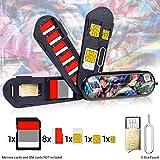 Speicherkarte Tasche im Schweizer Taschenmesser-Stil - Inklusive Micro SD Reader (USB) und Auswerfstift - Für 1x SD, 6x Micro SD, 1x Mini SIM, 1x Micro SIM und 1x Nano SIM - Für Handys und Tablets