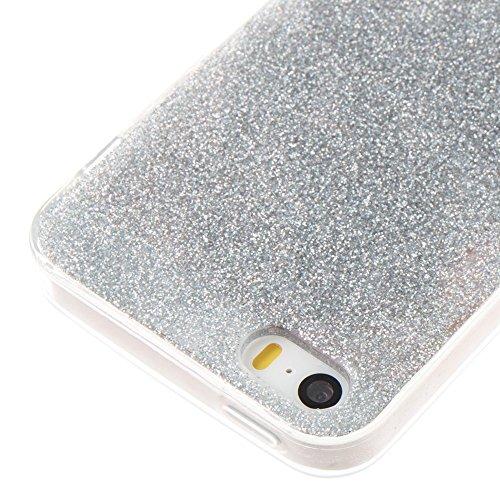 EKINHUI Case Cover Weiches flexibles Silikon TPU Gel-Abdeckungs-Fall [Anti-verkratzen] Glänzender Glitter 360 ° volle Abdeckung Rückseitige Abdeckung [Shockproof] für iPhone 5s u. SE ( Color : Silver  Silver