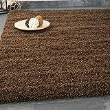 VIMODA Teppich Prime Shaggy Farbe Braun Hochflor Langflor Teppiche Modern für Wohnzimmer Schlafzimmer 70x140 cm