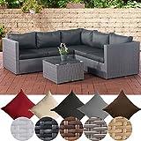 CLP Poly-Rattan Lounge-Set Liberi l Garten-Set mit 5 Sitzplätzen l Garnitur mit Aluminium-Gestell l Komplett-Set bestehend aus: 3er Sofa + 2er Sofa + Tisch Rattan Farbe grau, Bezugfarbe: Anthrazit