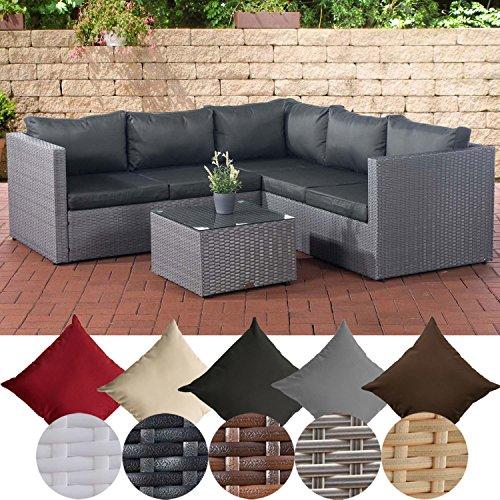CLP Poly-Rattan Lounge-Set Liberi l Garten-Set mit 5 Sitzplätzen l Garnitur mit Aluminium-Gestell l...