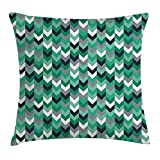 Chevron Throw Pillow Cushion Cover, Arrow Symmetric Zig Zag Lines in Mix Featured Abstract Image, Decorative Square Accent Pillow Case, 18 X 18 Inches, Dimgrey Forest Green Seafoam