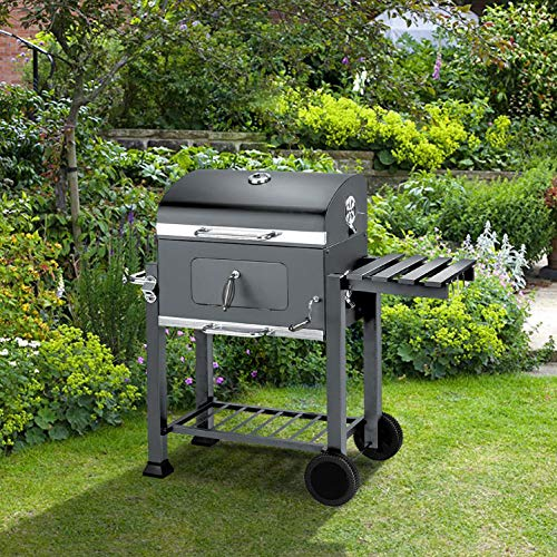 BillyOh Texas Smoker BBQ Charcoal Grill Portable Outdoor Barbecue Grey 115x65x107cm