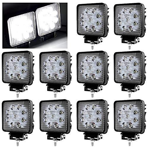 10X LED Scheinwerfer 27W Arbeitsscheinwerfer Arbeitslicht SUV Offroad IP67 2430 Lumen mit 9 LEDs Reflektor Rückfahrscheinwerfer ATV, UTV, Offroad, Traktor, LKW, Quadrat, 6000-6500K