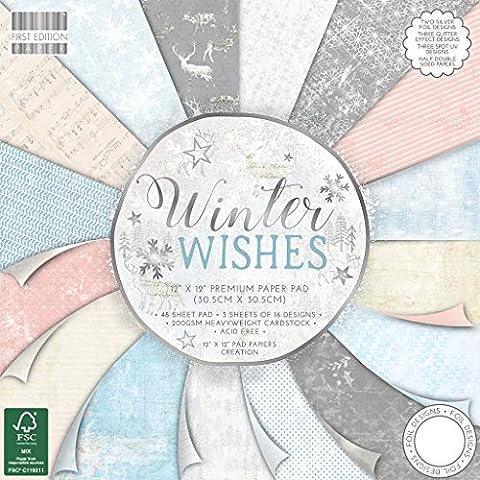 Premium Craft Cardstock First Edition 12x12 Designer Paper Pad - Winter Wishes