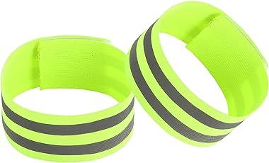 HOGAR AMO Reflektierende Warnweste/Reflektorbänder Einstellbar Sicherheitsweste Unfallweste Hohe Sichtbarkeit Reflexgurt Gürtel für Sicherheit beim Jogging Laufen Radfahren Arbeiten Wandern