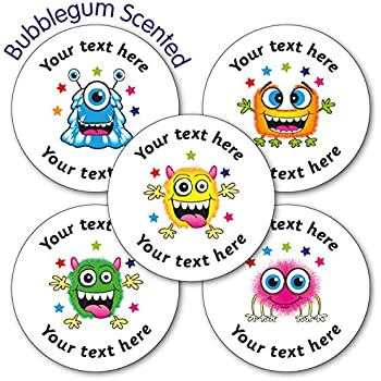 Personalised bubblegum scented monster sticker 37 millimetres x 35 primary teaching services