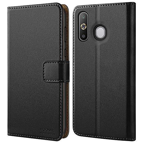 HOOMIL Handyhülle für Samsung Galaxy A8S Hülle, Premium Leder Flip Schutzhülle für Samsung Galaxy A8S Tasche, Schwarz