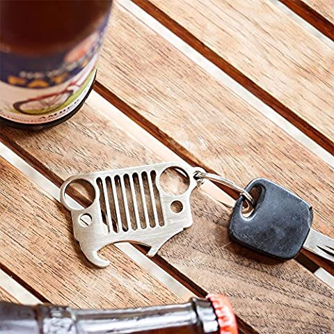 PolarLander griglia in acciaio inox portachiavi con la bottiglia integrato Opener da Chiavi & Bones