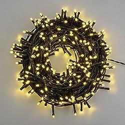 Catena 25,5 m, 360 led bianco caldo, cavo verde, con memory controller, luci natalizie, luci per l'albero di Natale, luci di Natale