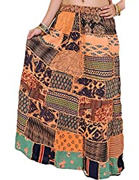 [Sponsored]Exotic India Long Printed Dori Skirt From Gujarat With Patch Work