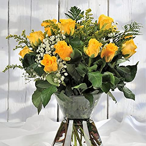 Yellow Luxury Long Stemmed Rose Flower Bouquet - Flowers Delivered