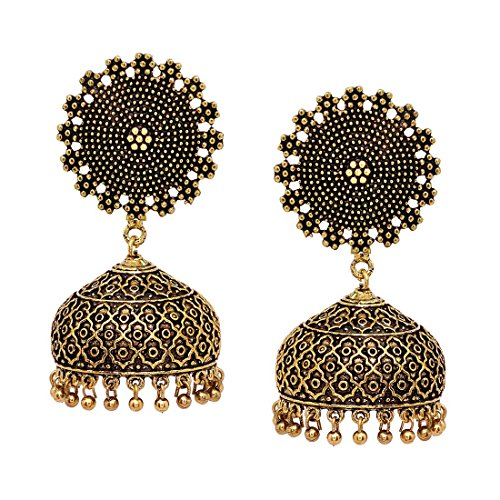 V L IMPEX Bollywood Fashion New Trendy Gold Plated Jhumka Jhumki Earrings