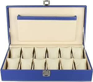 PANKATI Faux Leather Finish Watch Storage Box Organizer