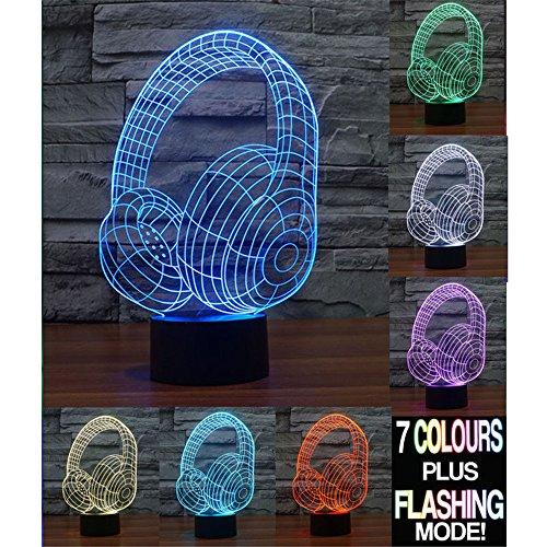 Preisvergleich Produktbild Kopfhörer 3D Lampe Optische LED Täuschung Nachtlicht,HAIYU 7 Farbwech mit Acryl Flat & ABS Base & USB-Ladegerät ändern Berühren Sie Botton Schreibtisch lampe Tischleuchte