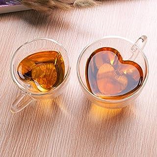 Aliciashouse Heart Shape Clear Transparent Double Layer Glass Tea Coffee Cup Mug -L