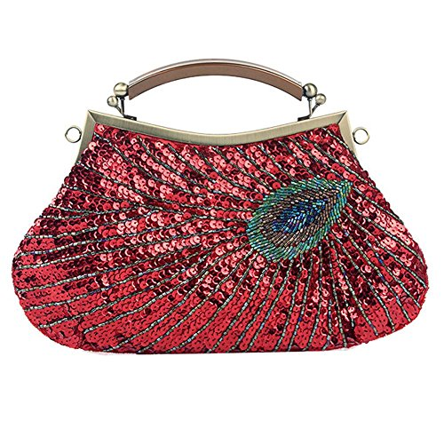 frauen abendtasche pfau antik perlen pailletten dinner party clutch taschen geldbörse. 28 x 20 cm red
