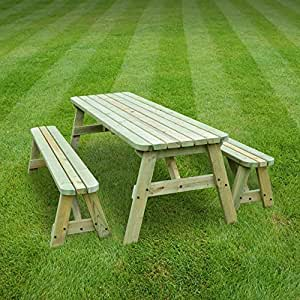 ROUNDED OAKHAM PICNIC TABLE AND BENCH SET - PUB STYLE BENCH - 7FT - HEAVY DUTY - HAND MADE - LIGHT GREEN - PRESSURE TREATED!!
