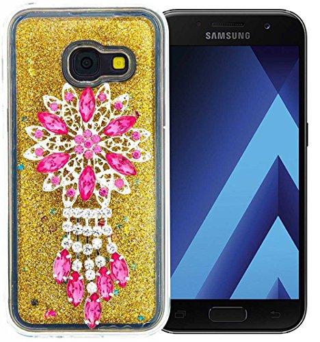 Nnopbeclik Silikon Hülle Transparent Für Samsung Galaxy A3 2017, Durchsichtig Ultra Slim TPU 3D Fließende Flüssigkeit Shiny Weich Schutzhülle Tasche Bunt Muster mit Diamant Applikationen [DIY Modisch Niedlich Aufkleber] Glänzend - Zucker Schale Crystal