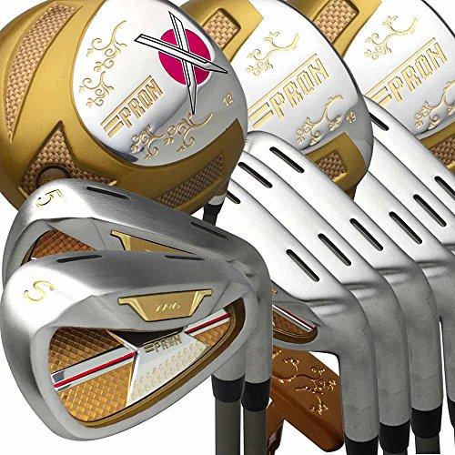 Japan epron TRG Driver 35Fairway Holz 4-SW chrom Finish Eisen und Putter Lady Golf Club Set + Leder Cover (16Stück, L Flex, Grip Standard) Womens Golf Club Grips