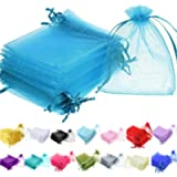 Time to Sparkle 25 Pieces Pouches Organza Gift Bags Oragnza Wedding Favour Bags Jewellery Packing (Aqua, 5x7cm)